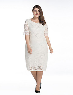 Χαμηλού Κόστους SWEET CURVE-Γυναικεία Δαντέλα Φόρεμα - Μονόχρωμο, Δαντέλα Κοφτό