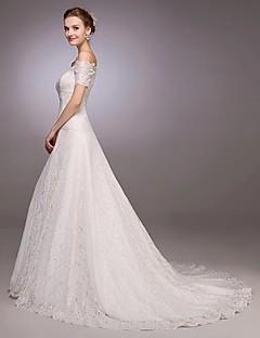 billiga A-linjeformade brudklänningar-A-linje Off shoulder Hovsläp Heltäckande spets Bröllopsklänningar tillverkade med Spets av LAN TING Express