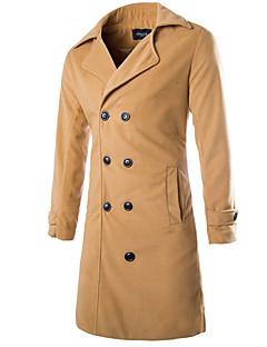 お買い得  メンズファッション&ウェア-男性用 ロング オーバーコート シャツカラー ソリッド