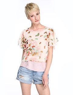 זול חולצות לנשים-פרחוני יום יומי סגנון רחוב ליציאה מידות גדולות חולצה - בגדי ריקוד נשים שכבות פרפר