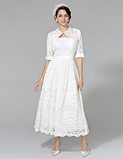 billiga A-linjeformade brudklänningar-A-linje Axelbandslös Telång Spets Bröllopsklänningar tillverkade med Bälte / band av LAN TING BRIDE® / Ja