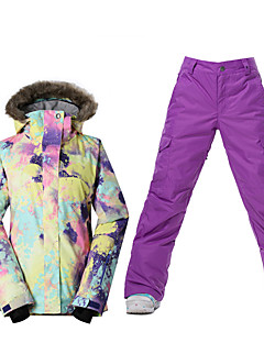 billiga Skid- och snowboardkläder-Skidkläder Skid-/snowboardjackor Dam Vinterplagg Polyester VinterkläderVattentät Håller värmen Vindtät Fleecefoder UV-Resistent Dragkedja