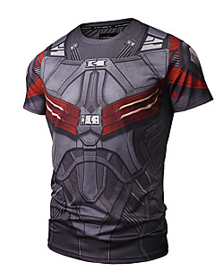 billige Herremote og klær-Bomull Rund hals T-skjorte Trykt mønster Aktiv Punk & Gotisk Sport Herre
