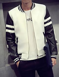 Χαμηλού Κόστους Men's Leather Jackets-Ανδρικά Σακάκι PU Απλό Μακρυμάνικο Καθημερινό,Μαύρο / Λευκό