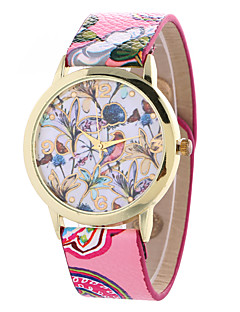 Mulheres Relógio de Moda Quartzo Couro Banda Flor Preta Branco Verde Rosa