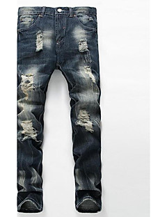 Men's Mid Rise Micro-elastic Straight Jeans Pants,Casual Solid Cotton Summer Fall All Seasons