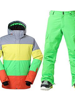 billiga Skid- och snowboardkläder-GSOU SNOW Skidjacka och -byxor Herr Skidåkning Vintersport Vattentät Håller värmen Vindtät Fleecefoder UV-Resistent Dragkedja fram