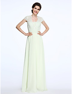 cheap Mother of the Bride Dresses-A-Line Queen Anne Floor Length Chiffon Lace Mother of the Bride Dress with Lace Sash / Ribbon Ruched by LAN TING BRIDE®