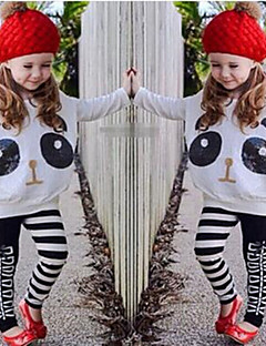 Girls' Print Sets,Cotton Polyester Spandex Spring Fall Long Sleeve Clothing Set Cartoon Animal Print White