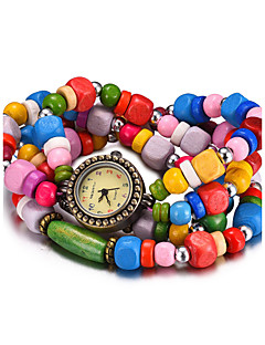 billige Armbåndsure-REBIRTH Dame Quartz Armbåndsur Vandafvisende Træ Bånd Vintage Afslappet Mode Sort Hvid Rød Brun Mangefarvet