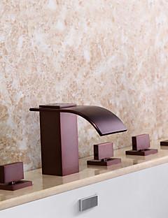 billige Sidesray-Badekarskran - Moderne Olje-gnidd Bronse Badekar Og Dusj Keramisk Ventil Bath Shower Mixer Taps / Tre Håndtak fem hull