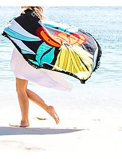 billige Bikinier og damemote 2017-kvinners retro store runde cover-up dusk print strand sjal 150cm bomull