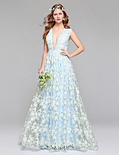 A-vonalú Nyakkivágás Földig érő Csipke Tüll Esküvői ruha val vel Csipke által LAN TING BRIDE®