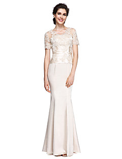 זול שמלות לאם הכלה-בתולת ים \ חצוצרה צווארון V באורך הקרסול שרמוז שמלה לאם הכלה  עם תחרה על ידי LAN TING BRIDE®