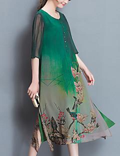 Χαμηλού Κόστους Chinoiserie Dresses-Γυναικεία Καθημερινά Μεγάλα Μεγέθη Κομψό στυλ street Κινεζικό στυλ Swing Φόρεμα,Στάμπα ¾ Μανίκι Στρογγυλή Λαιμόκοψη Μίντι Πράσινο