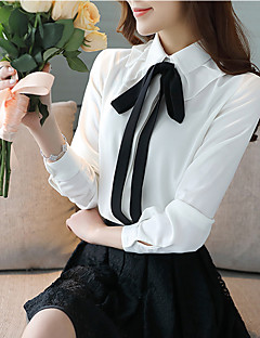 cheap Women's Tops-Women's Going out Work Casual Spring Summer Blouse,Solid Peter Pan Collar Long Sleeves Polyester Thin