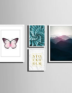 Framed Canvas Set Landscape Animals Floral Botanical Words Quotes Wall Art PVC Material With Frame Home Decoration