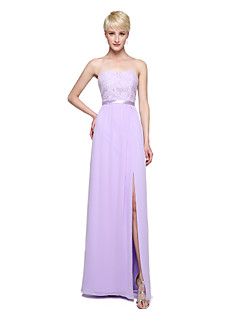 Sheath / Column Strapless Floor Length Chiffon Lace Bridesmaid Dress with Appliques Sash / Ribbon Pleats by LAN TING BRIDE®