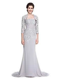 בתולת ים \ חצוצרה סטרפלס שובל סוויפ \ בראש שיפון תחרה שמלה לאם הכלה  - תחרה על ידי LAN TING BRIDE®