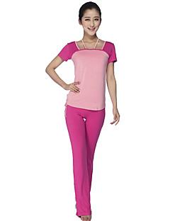 billiga Träning-, jogging- och yogakläder-Dam Yogakläder sporter Modal Klädesset Kortärmad Sportkläder Andningsfunktion, Bekväm Elastisk