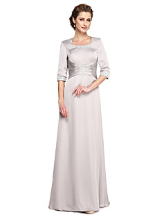 A-Line Square Neck Floor Length Lace Satin Mother of the Bride Dress with Appliques Pleats by LAN TING BRIDE®