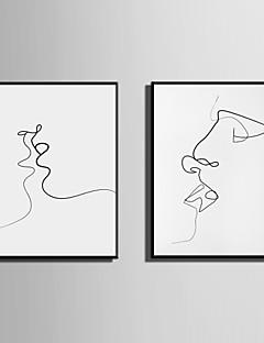 tanie Obrazy abstrakcyjne w oprawie-Oprawione płótno Zestaw w oprawie Streszczenie Ludzie Wall Art, PVC (polichlorek winylu) Materiał z ramą Dekoracja domowa rama Art Living