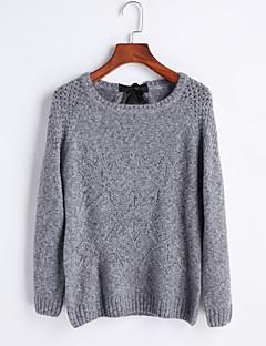 tanie Swetry damskie-Damskie Jendolity kolor Vintage Urocza Seksowny Rozpinany Impreza Codzienny Wyjściowe Długi rękaw Okrągły dekolt Zima Jesień Bawełna