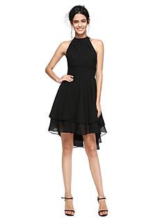 billiga Den lilla svarta-A-linje Hög hals Asymmetrisk Chiffong Den lilla svarta / Kort och lång Cocktailfest Klänning med Plisserat av TS Couture®