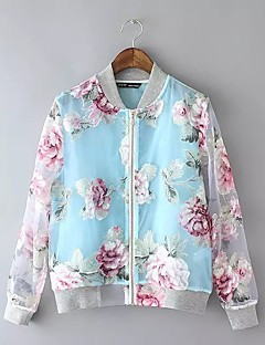 Damen Blumen Street Schick Lässig/Alltäglich Jacke,V-Ausschnitt Frühling Herbst Standard Baumwolle Polyester