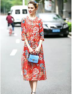 Χαμηλού Κόστους Φορέματα-Γυναικείο Εξόδου Κινεζικό στυλ Σε γραμμή Α Φόρεμα,Φλοράλ ¾ Μανίκι Στρογγυλή Λαιμόκοψη Μίντι Μετάξι Λινό Άνοιξη Καλοκαίρι Κανονική Μέση