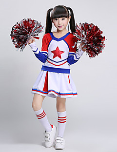 cheap Cheerleader Costumes-Cheerleader Costumes Outfits Children's Performance Cotton Splicing Long Sleeves Natural Top Skirt