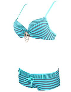 billige Bikinier og damemote-Dame Geometrisk Grime Grønn Rød Navyblå Bikini Badetøy - Stripet L XL XXL / Sexy