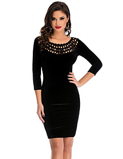 Women's Hollow Out Round Neck Sleeved Velvet Dress
