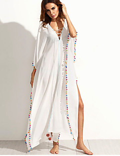 cheap Women's Dresses-Women's Holiday / Going out / Beach Boho Loose / Sheath Dress - Solid Colored White High Rise Maxi V Neck / Summer / Lace up / Oversized