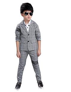 billige Tøjsæt til drenge-Tøjsæt Daglig Ensfarvet, Bomuld Rayon Forår Sommer Langærmet Grå