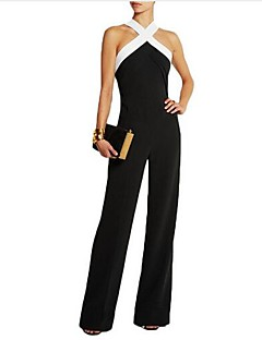 Women's Going out Sexy Solid Strap Jumpsuits,Loose Sleeveless Spring Summer Cotton Acrylic
