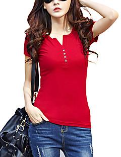 billige Plusstørrelser til kvinder på udsalg-V-hals Dame - Ensfarvet Bomuld, Racer Bagside Gade Plusstørrelser T-shirt / Sommer