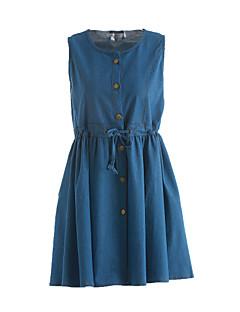 Maternidade Solto Vestido,Casual Simples Sólido Decote Redondo Acima do Joelho Sem Manga Azul Linho Verão