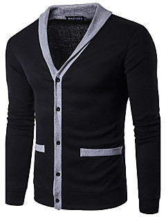 Men's Casual/Daily Simple Regular Cardigan,Solid Red Black Gray V Neck Long Sleeve Cotton Polyester Spring Fall Medium Micro-elastic
