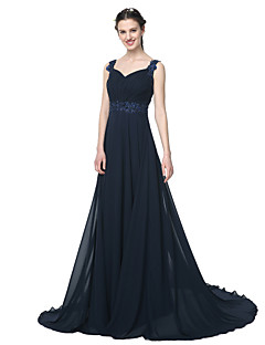 cheap Bridesmaid Dresses-A-Line Straps Floor Length Chiffon Bridesmaid Dress with Beading Appliques Pleats by LAN TING BRIDE®