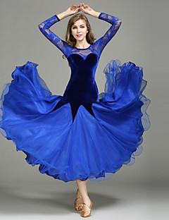 cheap Ballroom Dance Wear-Ballroom Dance Dresses Women's Performance Lace Tulle Velvet Lace Splicing Long Sleeves Natural 1 x User's Manual Dress