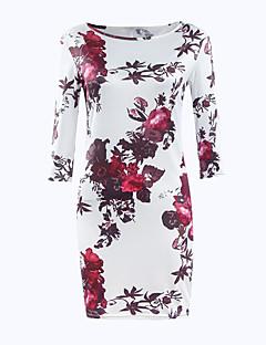 preiswerte Kleider-Damen Retro Street Schick Bodycon Kleid Blumen Übers Knie