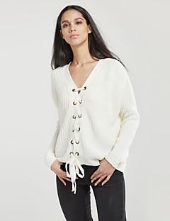 tanie Swetry damskie-Moda miejska W serek Pulower Solidne kolory Długi rękaw / Zima / Wiązanie