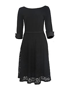 Naisten Tuppi Mekko Vintage Juhla/cocktail Plus-koko,Yhtenäinen Pyöreä kaula-aukko Polvipituinen ¾ hiha Sininen Punainen Musta Polyesteri