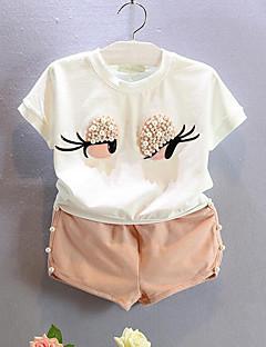 Χαμηλού Κόστους Girls Clothing Sets-Κοριτσίστικα Σετ Ρούχων Βαμβάκι Patchwork Καθημερινά Καλοκαίρι Κοντομάνικο Κινούμενα σχέδια Λευκό