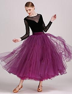 tanie Stroje balowe-Taniec balowy Outfits Damskie Wydajność Tiul Aksamit Falbany Długi rękaw Naturalny Spódnice Trykot opinający ciało / Śpiochy dla dorosłych