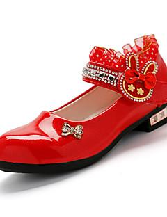ウェディング カジュアル パーティー-エナメル-ローヒール-フラワーガールの靴-サンダル-ブラック ピンク レッド