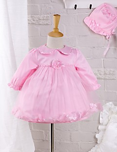 Baby Going out Daily Solid DressCotton Polyester Spring Fall Pink Petal Dress with Hat