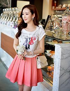 Feminino Camiseta Para Noite Casual Férias Simples Moda de Rua Sofisticado Verão,Estampado Estampa Colorida Algodão ElastanoDecote