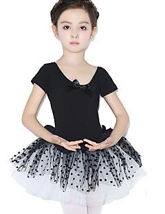 Balet Šaty Dětské Trénink Bavlna Krajka Puntíkované Jeden díl Krátké rukávy Přírodní Leotard 48,50,52,54,56,58